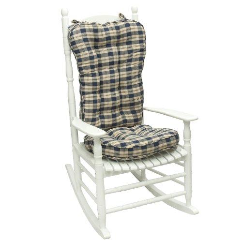 Greendale Home Fashions Applegate Plaid Jumbo Rocking Chair Cushion, Navy Blue