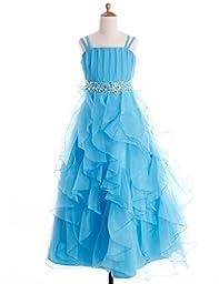 Fashion Plaza Girl\'s Organza Ruffle Flower Girl Pageant Ball Gown Dress K0044 (8, Light Sky Blue)