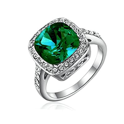 Yoursfs Fabulous Deep Green Squard Gem 18K White Gold Plated 2.5CT Emulational Diamond Turquoise Wedding Ring