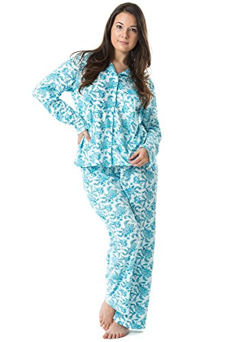 Casual Nights Women's Long Sleeve Floral Pajama Set - Green - XX-Large (Plus Size Pajamas)