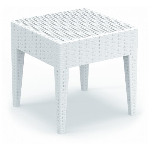 Compamia ISP858-WH Miami Square Resin Side Table in White, image