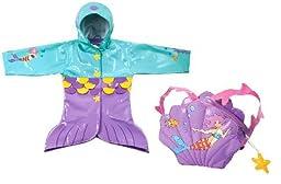 Kidorable Little Girls\' Mermaid Raincoat with Backpack, 5/6