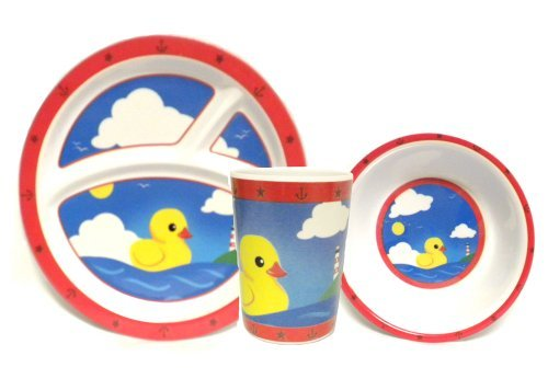 Rubber Ducky Dinnerware 3 Piece Set for Baby With Plate Bowl and Cup