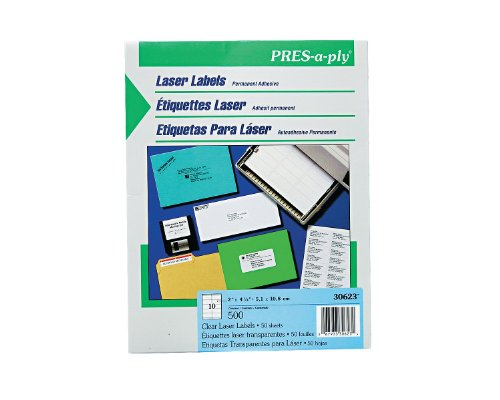 Pres-A-Ply Laser Address Labels, 4.25 X 2 Inches, Clear, Box Of 500 (30623)