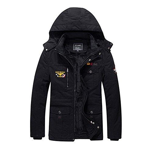 H.T.Niao Jacket9935C2 Men 's Fashion Plus Velvet Warm Cotton Jackets(Black,Size XL) (Kenmore Pedestal compare prices)