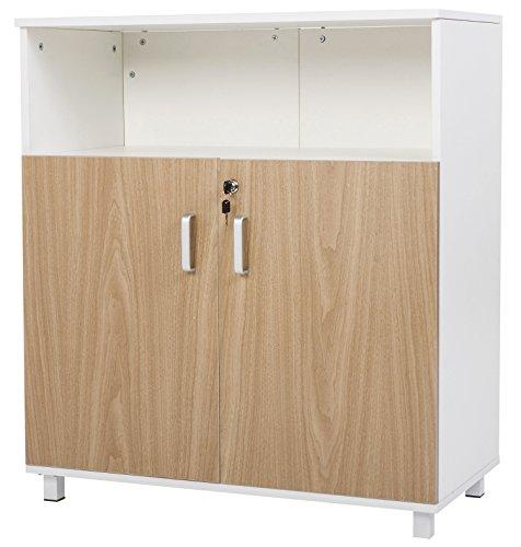 【Lowest Price FIRE SALE】Merax Standing 2 Door Storage File Cabinet ,Office Organizer,ivory White &Light Oak Light Oak 2 Door Cabinet