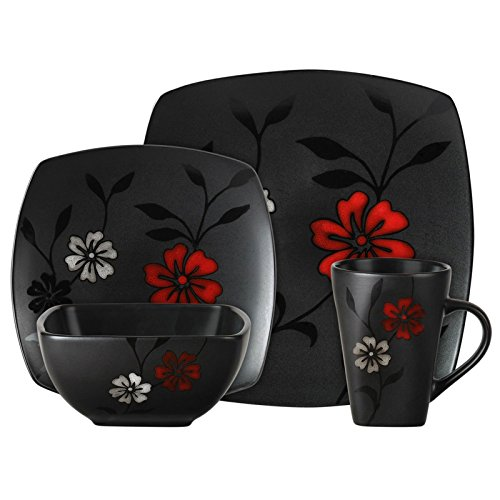 Gibson 16-Piece Dinnerware Set, Evening Blossom, Black (Red And Black Dishes compare prices)