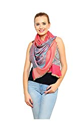 Pink floral Printed Modal Shawl for women