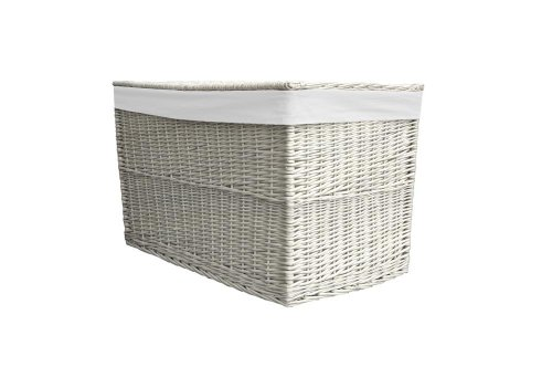 Wicker Medium White Storage Trunk / Toy Basket / Hamper