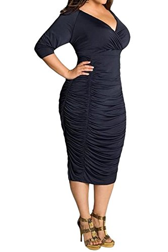 POSESHE Womens Plus Size Deep V Neck Wrap Ruched Waisted Bodycon Dress (XXXXL, Black)