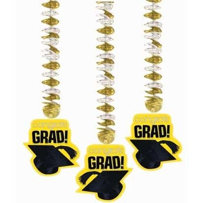 Congrats Grad Yellow 25in Dangling Cutouts 3ct - 1
