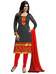 Aasvaa Womens Cotton Salwar Unstitched Dress Material (Grey)