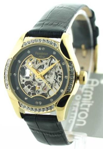 Armitron Women's 753721BKGPBK Automatic Gold-Tone Case Black Leather Strap Watch