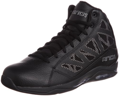 AND1 Entourage Mid Basketball Shoes, Black/Black/Silver, 10.5 M US