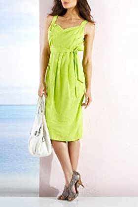 Per Una Pure Linen Sleeveless Pleated Front Shift Dress [T62-9625G-S]