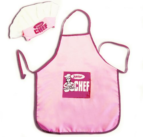 Child size pink & white lightweight Junior Chef Hat Apron Set - great for parties or costumes