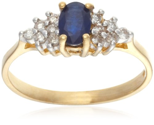 9ct Yellow Gold AMRu4601 Ladies' 0.15ct Diamond  &  Sapphire Ring Size L