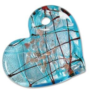 Murano Style Glass Aqua Gold & Red Foil Heart Angled Pendant