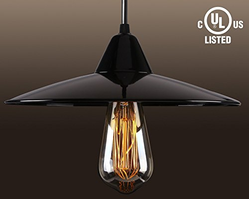 Industry Style Pendant Light Fixture, Vintage Metal Factory Ceiling Hanging Light, LED Light Bulb Included, Dia 11 Inch,Classic Black (Commercial Pendant Light Fixtures compare prices)
