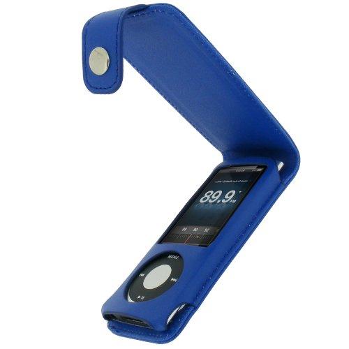 igadgitz PU Leder Tasche Schutzhülle Etui Case Hülle aufklappbar in Blau für Apple iPod Nano 5G 5.Gen Generation (mit Videokamera) 8gb, 16gb + abnehmbare Karabinerhaken