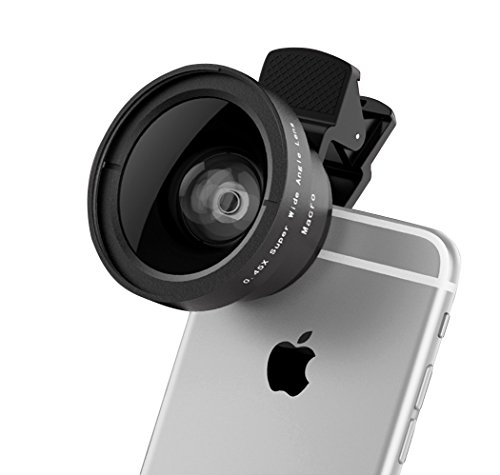 VICTONY-2-In-1-Cell-Phone-Camera-Lens-Kit-Clip-On-Universal-Phone-Lens-52mm-Diameter-Lens-for-iPhone-6-6s-Plus-6s-5s-Samsung-Mobile-Phone-045-X-Super-Wide-Angle-Lens-125-X-Macro-Lens