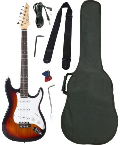 Barcelona Beginner Series Double Cutaway Electric Guitar with Gig Bag, Instrument Cable, Tremolo Bar, Strap, Strings, Picks, and Polishing Cloth - Sunburst