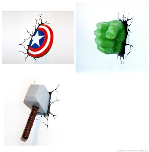 Marvel 3 D Deco Thor, The Hulk and Captain America Night lights- (3 Pack) - 1