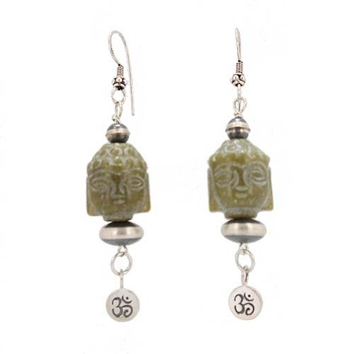 Hand Carved Jade Buddha Head Dangle Earrings with Om (Aum) Charm, #7461