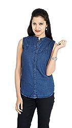 Franclo Women's Denim Shirt (Dark Blue, Small)