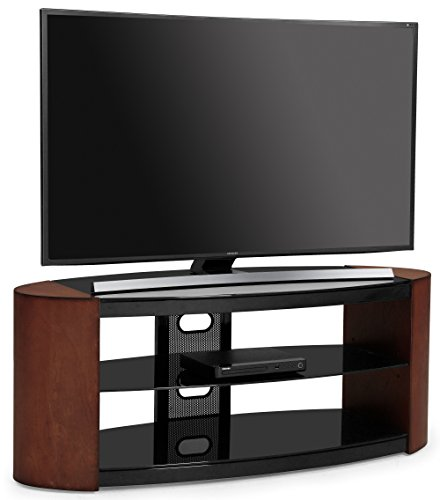 """Centurion Supports Jaxton Oval 3 - shelf rich walnut and gloss black real wood veneer 26""""-55"""" LED/ LCD / OLED TV stand"""