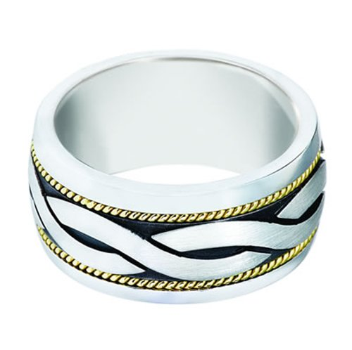 Sterling Silver 14K Yellow Gold, Celtic Twist and Thin Braid 11.5MM Band (sz 8)