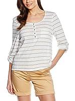 Cortefiel Camiseta Manga Larga (Blanco / Beige)