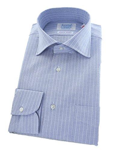 スキャッティ Scented by SCHIATTI ペンシルストライプ スプレッドカラー ドレスシャツ /sharp model 39-83 26ブルー