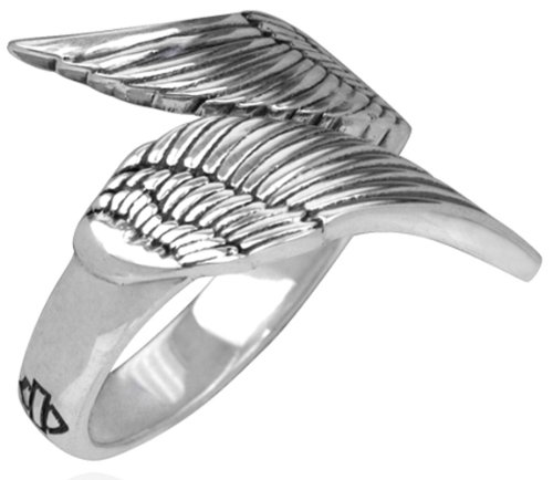 Harley-Davidson .925 Silver Double Wing Womens Ring (6)