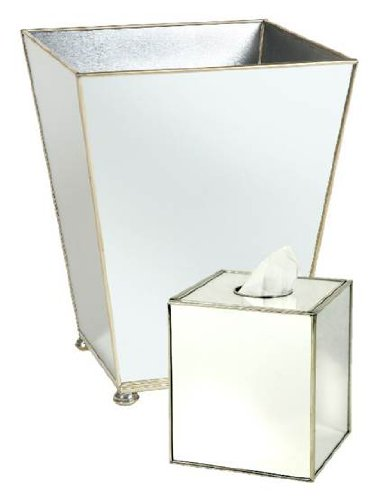 Elegant Bathroom Sets Trash Can Wastebasket u Tissue Box Cover Bathroom Accessories Mirrored