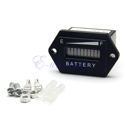 48 Volt Battery Indicator With Hour Meter Gauge Tri-Color