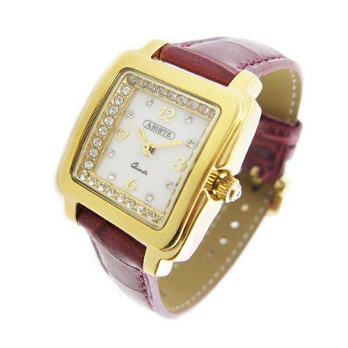 [アビステ]ABISTE スクエアフェイス型押しベルト時計/パープル 9200503G/P