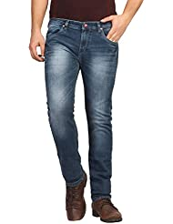 FN Jeans Stylish Navy Blue Slim Fit Low Rise Stone Wash Denim For Men | FNJ9160