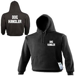 DOG HANDLER HOODIE - Pocket & Back Logo Premium Unisex Mens Womens Ladies hoody - Workwear Work Wear Uniform Trainer Puppy Hound K9 Gift Slogan Staff Kit Present S M L XL 2XL 3XL 4XL 5XL - by Fonfella by Fonfella