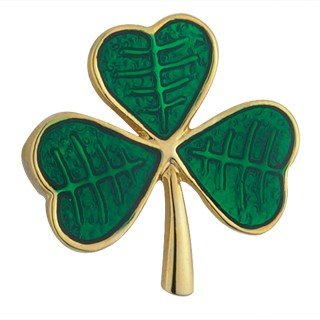 Gold Plated & Green Enamel Shamrock Brooch-Made in Ireland-Ships Today