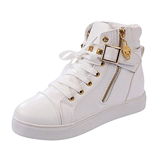Rusway Womens Stylish New Comfortable Skull Lace Up Buckle Zipper Skull Flats Sports Canvas Sneakers Shoes(8.5 B(M) US, White)