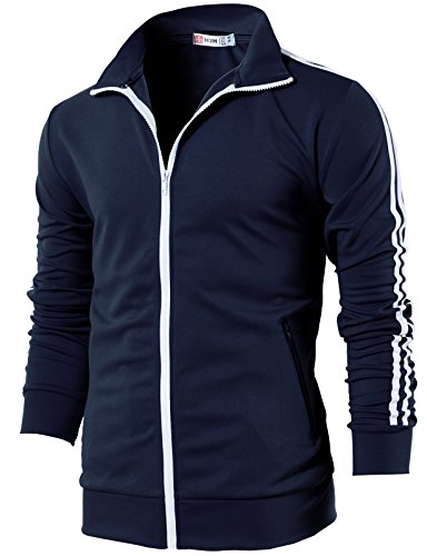 H2H Mens Slim Fit Zip-up Long sleeves Training Jacket NAVY US S/Asia M (CMOJA0103)