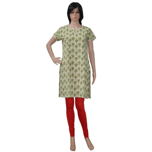 Rajasthani Ethnic Style Block Print Casual Wear Sequins Work Women's Wear Cotton Kurta