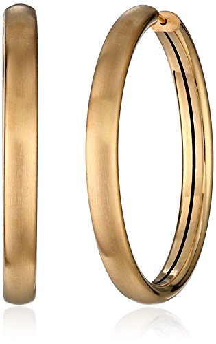 Italian+14k+Yellow+30mm+Gold+Satin+completed+Hoop+Earrings