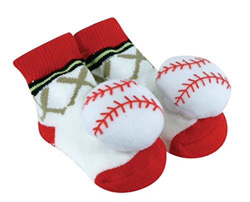 Stephan Baby Sports Fun Non-Skid Rattle Socks, Baseball, 6-12 Months