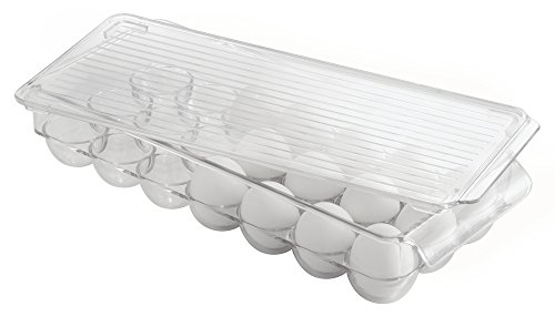 InterDesign Covered Egg Holder, 21 Eggs, Clear, Set of 1 (Egg Containers For Refrigerator compare prices)
