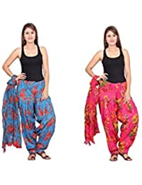 Rama Set Of 2 Floral Print Blue & Pink Colour Cotton Full Patiala With Dupatta Set