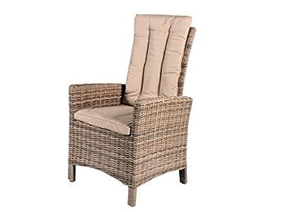2er Set Polyrattan verstellbar Sessel beige grau inkl Kissen Gartenstuhl Esszimmer hochwertig Polyrattansessel 2 Stück von Trendy-Home24 - Gartenmöbel von Du und Dein Garten