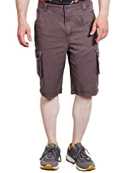 Fitz Men's Grey SOLID DYED 100% Cotton CARGO SHORTS - B0154W7B78