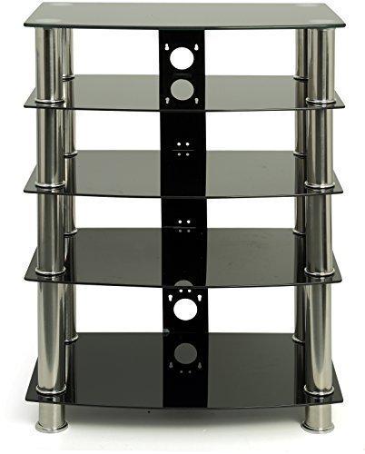 PTA GTS6BC - Rack Audio/Video con 4-5 ripiani in vetro, colore: Nero e gambe cromate; dimensioni: 600 mm